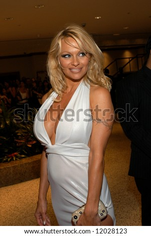 Pamela Anderson arrives at the White House Correspondents' Dinner April 26, 2008 in Washington, D.C.