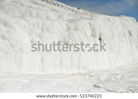 pamukkale in Turkey white cotton lock sight calcium mineral water trip tourists of excursion people of mountain from a calcium lime