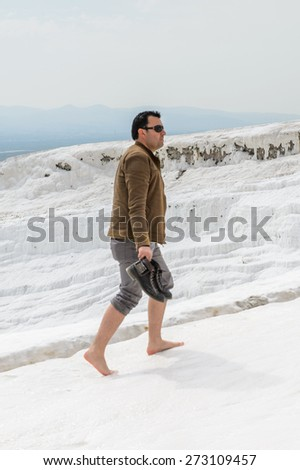 Caucasian Hipster Man Standing Alone On Stock Photo ...