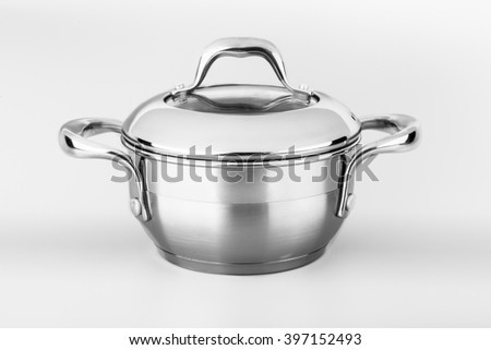 pan of stainless steel on a gray background