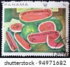 "PANAMA - CIRCA 1968: A stamp printed in Panama shows the work ""the watermelons"" by Diego Rivera, circa 1968 - stock"