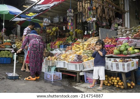 Pancasari, Bali (Indonesia) - January 02: A local market in Lovina on the north coast of Bali on January 02, 2014.