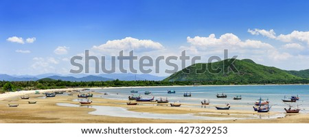 Panorama beach and sea tide at Prachuap Khiri Khan Province Thailand.