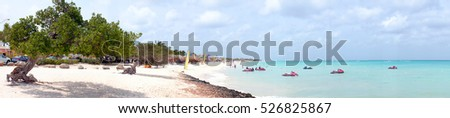 Panorama from eagle beach on Aruba island in the Caribbean sea