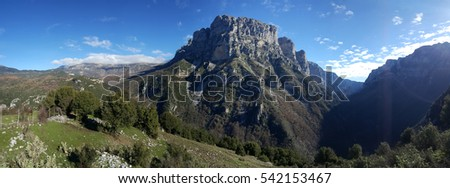 Panorama from the Vikos Gorge in the Pindus Mountains of northern Greece