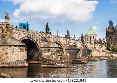 Panorama. Karlov or Charles bridge in Prague in summer