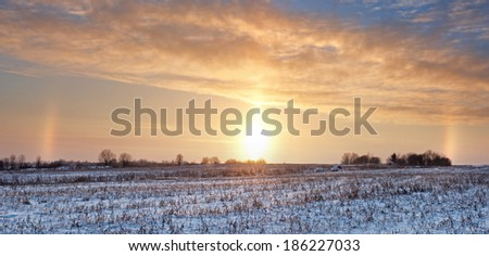 Panorama of a winter field at sunset with the unusual optical occurrence - solar Gloria.