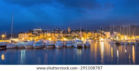 Panorama of beautiful Saint Florent town and harbour, Corsica island, France, Europe