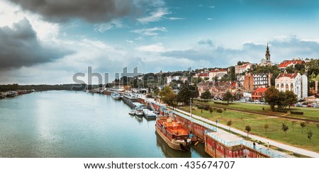 Panorama of Belgrade with Sava river. Color tone tuned.