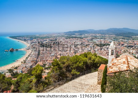 Panorama of Blanes from  the top of the Castle in summertime. The start point of Costa Brava. Girona.