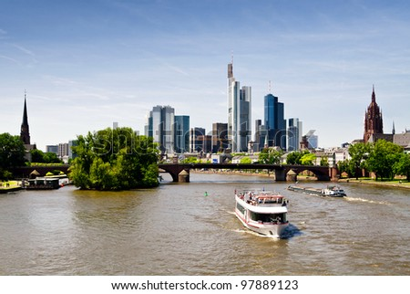 Panorama of Frankfurt with tourist boats on the river
