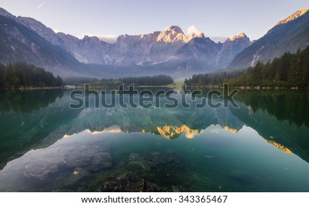 panorama of mountain lake in the Alps