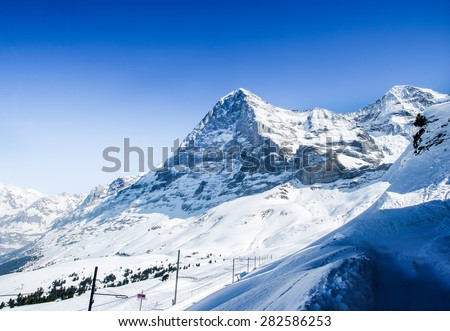 Panorama of mountains in the Bernese Oberland with the famous north face of mount Eiger.