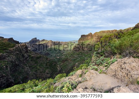 Panorama of mountains near Masca town on Tenerife island, Spain