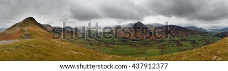 Panorama of Newlands Valley from Catbells, Lake District, Great Britain
