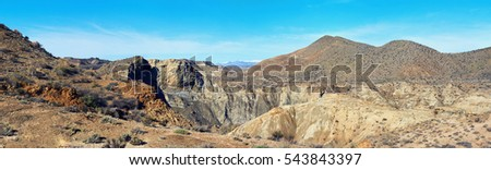 Panorama of Tabernas Desert, one of the most unique deserts of the world. The only European desert and one of the famous landmarks in Spain. Andalusia, Province of Almeria