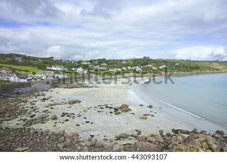 Panorama of the Coverack beach at low tide in early Autumn, The Lizard Peninsula, Cornwall, England, UK