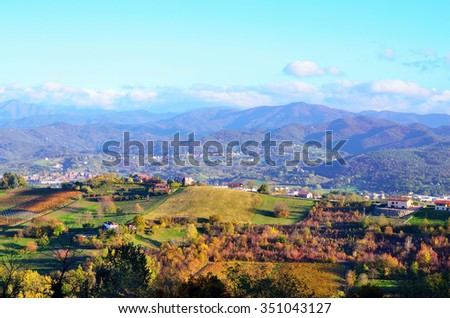 panorama of the hills of Cremolino, Alessandria, Italy