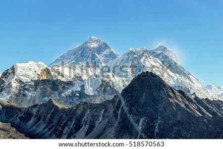 Panorama of the two highest peaks of the World - Everest (8848 m) and Lhotse (8516 m). View from the Renjo Pass - Gokyo region, Nepal, Himalayas