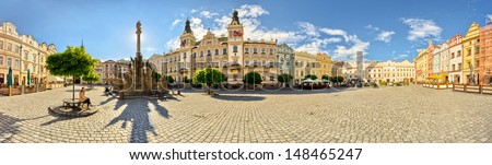 Panorama of town square in Pardubice, Czech Republic