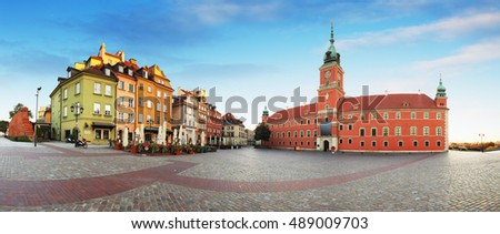 Panorama of Warsaw city center, royal castle, Poland.