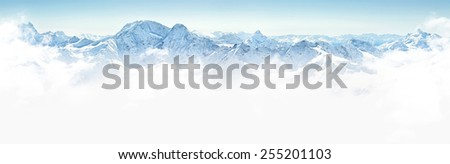 Panorama of winter mountains in Caucasus region,view from Elbrus mountain, Russia