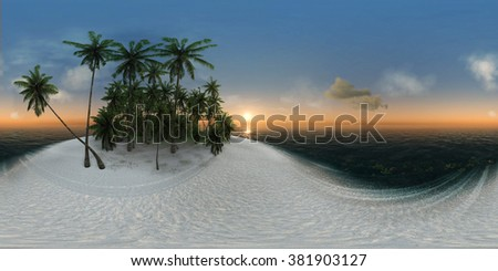 panorama 360, sea, tropical island, palm trees, sun