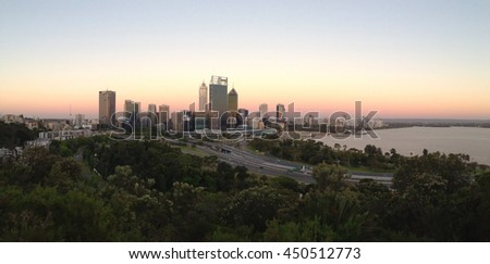 Panorama sunset Perth skyline from Kings Park Western Australia