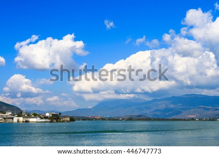 Panorama view of Erhai lake and Cangshan mountain in Yunnan Province, China.