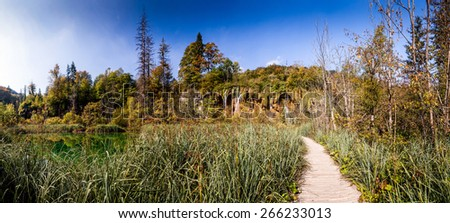 Panorama view of Plitvice Lakes National Park in Croatia