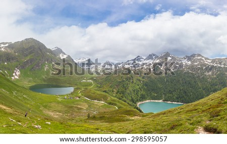 Panorama view of the lake of Ritom and Cadagno with the alps in background, Canton Ticino of Switzerland.