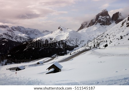 Panorama view of the Sassolungo (Langkofel) Group of the Italian Dolomites in Winter from Passo Pordoi, Val di Fassa Ski Area in Canazei.