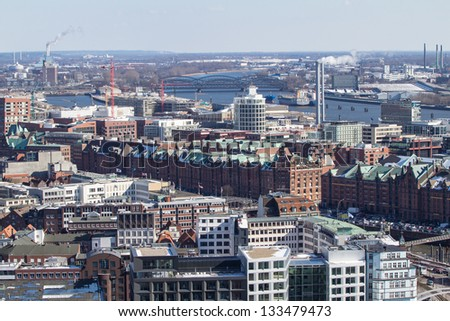 Panorama view on Hamburg from Michel church, Germany