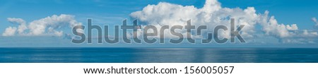 Panorama with clouds and blue ocean