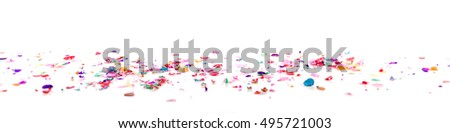 panorama with confetti in front of a white background
