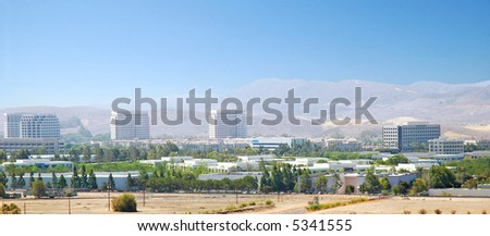 Panoramic Aerial shot of an Irvine, California  Business Park. Viewed from the Great Park Balloon.