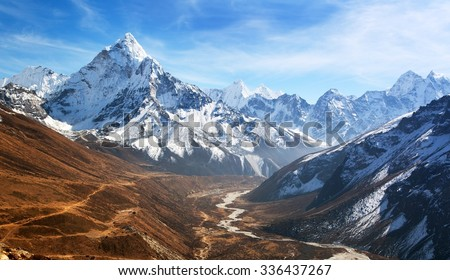 Panoramic beautiful view of mount Ama Dablam with beautiful sky on the way to Everest base camp, Khumbu valley, Sagarmatha national park, Everest area, Nepal