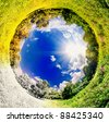 panoramic image looks like planet with seasons change. Ecology and space concept - stock