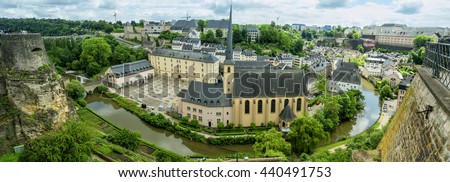 Panoramic image of Abbaye de Neumunster in Luxembourg. Top view.