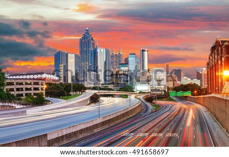 Panoramic overview of downtown Atlanta, Georgia at the sunset time