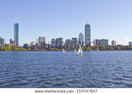 Panoramic shot of Boston in Massachusetts by the Charles