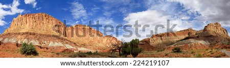 Panoramic View from Grand Wash Road Capitol Reef National Park.  Grand Wash is Located at the Center of Capitol Reef National Park, Utah.