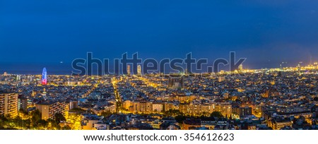 Panoramic view of Barcelona in a summer night  in Spain