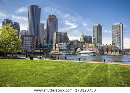 Panoramic view of Boston Harbor and Financial District in Massachusetts, USA in the summer season.