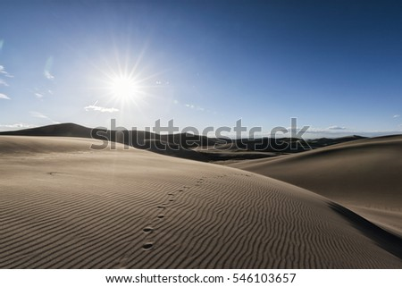 Panoramic view of desert landscape in Great Sand Dunes National Park, Colorado, USA