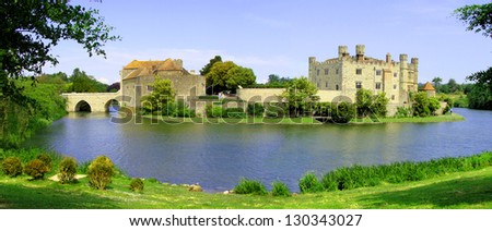 Panoramic view of Leeds Castle and moat, England
