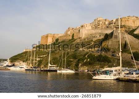 Panoramic view of marina and fortress in  Bonifacio, Corsica, France