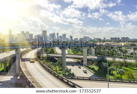 Panoramic view of Miami skyline and highways