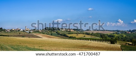 Panoramic view of Monferrato, Piedmont region, Italy
