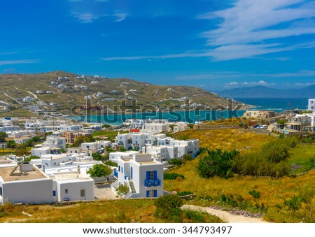 panoramic view of Ornos in Mykonos island in Greece